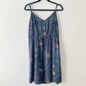 Aritzia Babaton Casimir Blue Floral V-Neck Dress
